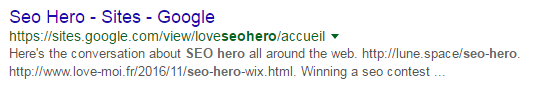 Spam on Google Sites has reached the first page of the search results for SEO hero