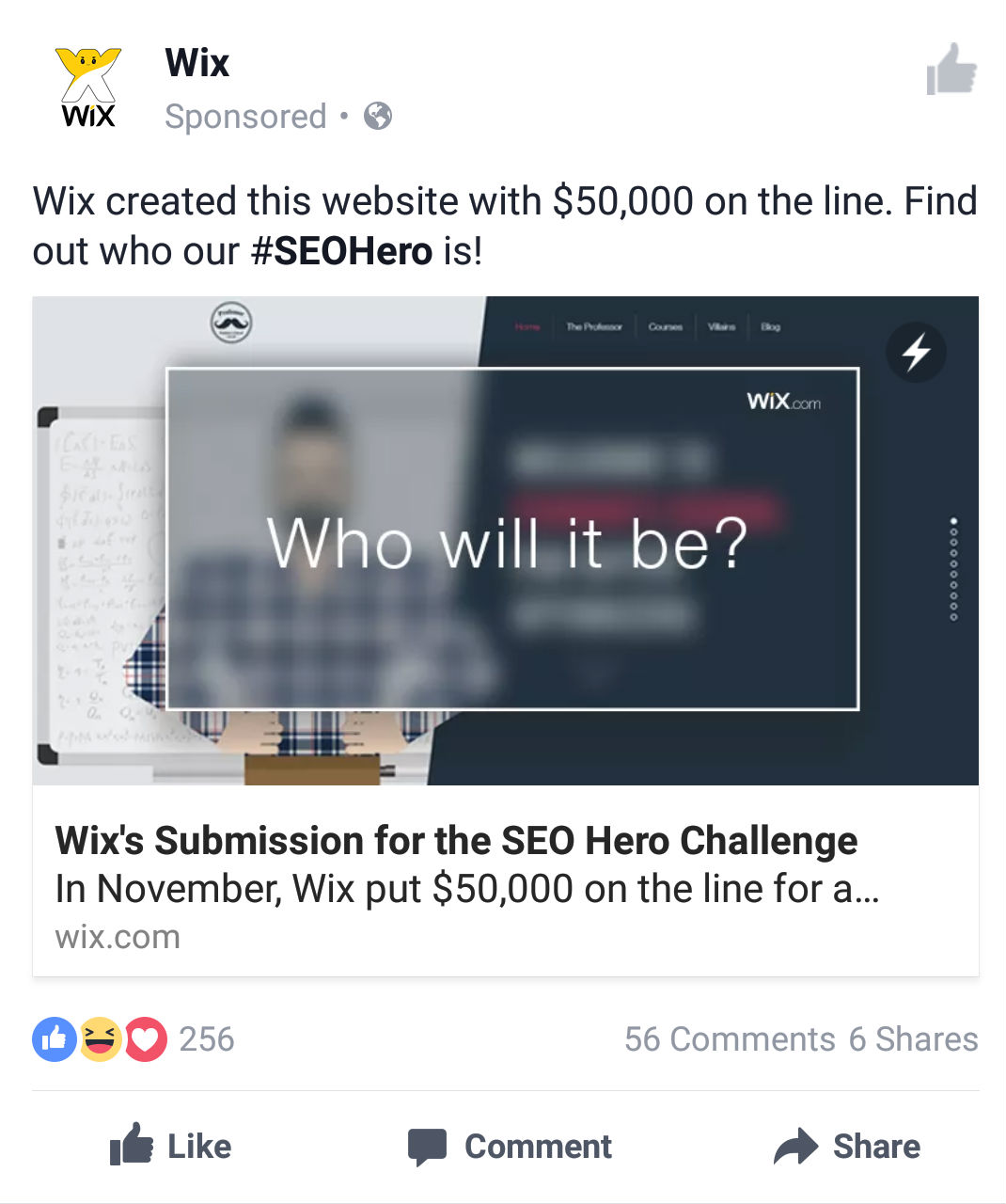 SEO Hero Facebook ads for Wix's entry