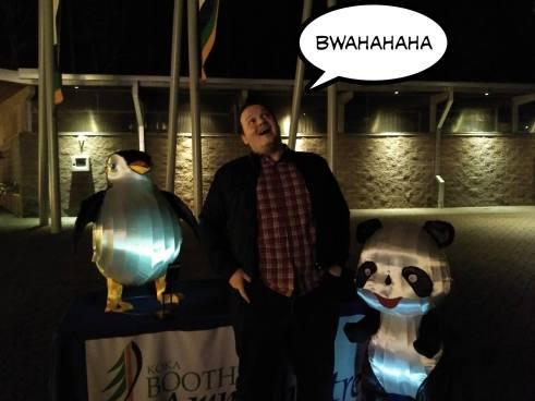 SEO Villain Patrick Stox with a Panda and a Penguin