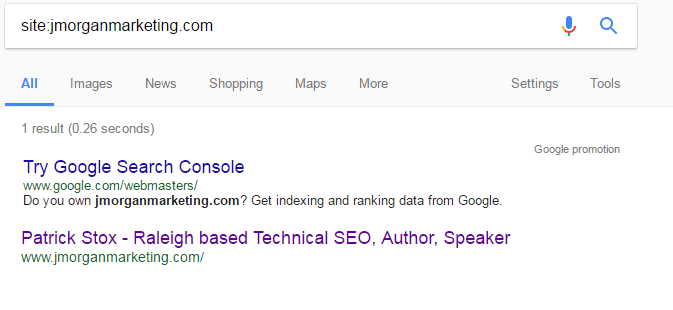 first result showing serp